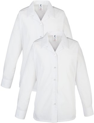 Unbranded Alleyn's Lower and Middle School Girls' Open Neck Blouse, Pack of 2, White