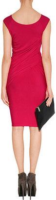 Donna Karan Shocking Pink Cap Sleeve Draped Jersey Dress