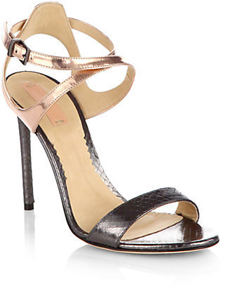 Reed Krakoff Metallic Snakeskin & Leather Ankle Strap Sandals