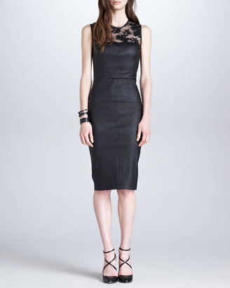 Robert Rodriguez Stretch Leather & Lace Dress