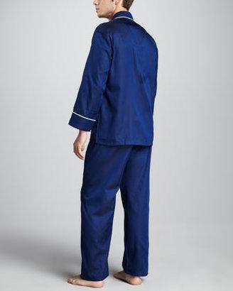 Neiman Marcus Men's Classic Sateen Pajamas, Navy