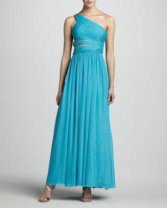 Aidan Mattox One-Shoulder Beaded-Waist Gown, Bright Blue