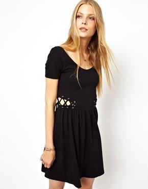 Asos Skater Dress With Lace Up Sides - Black