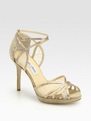 Jimmy Choo Fable Glitter & Lace Sandals