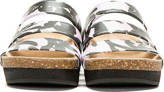 Kenzo Purple Printed-Strap Flat Sandals