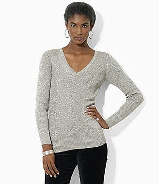 Lauren Ralph Lauren Long-Sleeve Ribbed Metallic Sweater