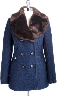 Laundry by Shelli Segal Faux-Fur Collar Coat