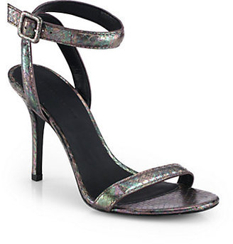 Alexander Wang Antonia Iridescent Snake-Embossed Leather Sandals