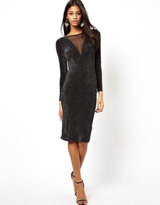 Asos Mesh Insert Bodycon Dress with Metallic Sparkles
