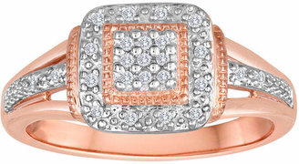 Rosegold FINE JEWELRY 1/10 CT T.W. Diamond 14K Rose Gold over Silver Ring