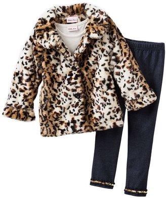 Little Lass faux-fur cheetah jacket set - girls 4-6x