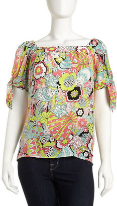 Nanette Lepore Lucky Floral-Print Blouse, Coral