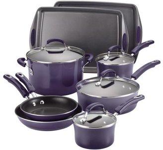 Rachael Ray 12-pc. Nonstick Porcelain II Cookware Set with Bakeware, Purple Gradient