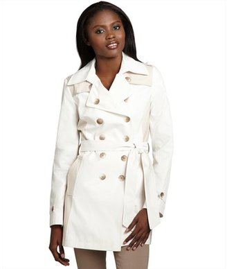 DKNY pearl cotton blend colorblock double breasted trench coat