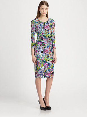 Etro Floral-Print Ruched-Waist Jersey Dress