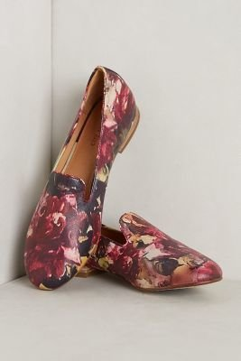 Anthropologie Rowan Reed Floral Smoking Loafers