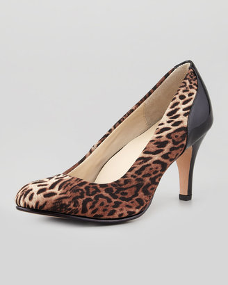 Taryn Rose Teaneck Leopard-Print Pump, Brown Multi