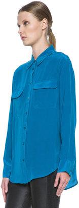 Equipment Signature Blouse in Blue Sapphire