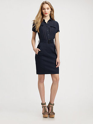 Burberry Belted Short-Sleeve Shirtdress