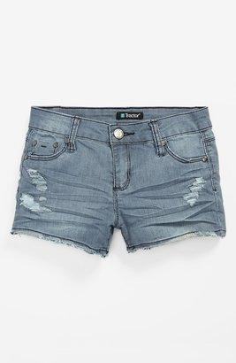 Tractor Railroad Shorts (Big Girls) Medium Wash Indigo 14