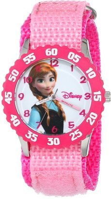 Disney Kids' W000968 Frozen Anna Time Teacher Stainless Steel Watch with Pink Nylon Strap