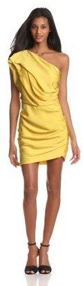 Halston Women's One Shoulder Dress With Asymmetrical Hem