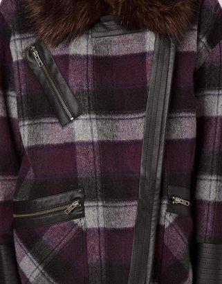 Asos Check Biker Coat with Faux Fur Collar