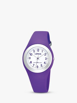 Lorus R2305GX9 Children's Easy Read Rubber Strap Watch, Purple/White