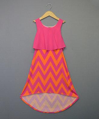 Orange & Fuchsia Chevron Hi-Low Dress - Girls