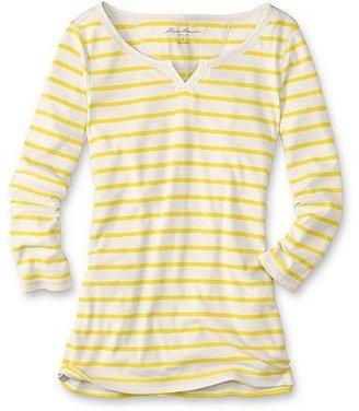 Eddie Bauer Favorite 3/4-Sleeve Striped Notch-neck T-Shirt