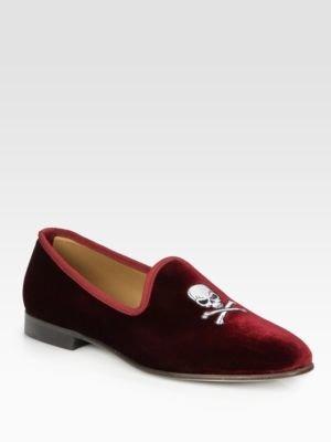 Del Toro Velvet Skull Slipper Shoe