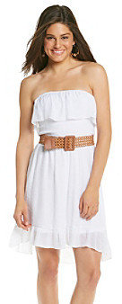 Amy Byer A Byer A. Byer Juniors' Whie Strapless Gauze High-Low Dress