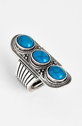 Stephan & Co Stone Ring Silver/ Turquoise One Size