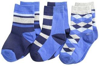 Jefferies Socks Argyle Stripe Crew Socks 3 Pack (Toddler/Little Kid/Big Kid) (Navy) Boys Shoes