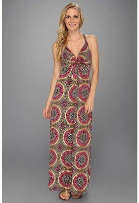 T-Bags Tbags Los Angeles - Deep V-Neck Twisted Strap Long Dress w/ Cross Back Detail (EM10 Print) - Apparel