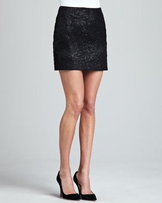 C&C California Quilted Faux-Leather Skirt