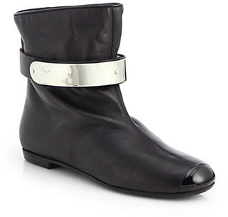 Giuseppe Zanotti Metal-Plated Strap Leather Ankle Boots