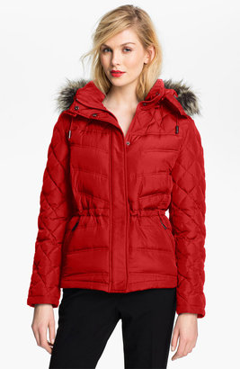 Kenneth Cole New York Quilted Anorak with Faux Fur Trim