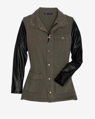 Jet John Eshaya Exclusive Leather Sleeve Army Jacket