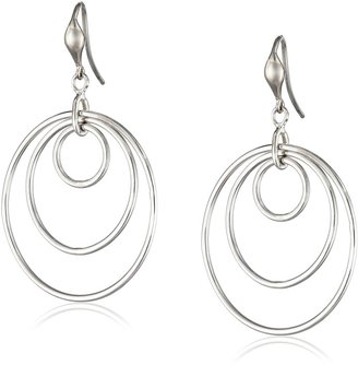 """Zina Sterling Silver """"Wired"""" Loose Concentric Circle Drop Earrings"""
