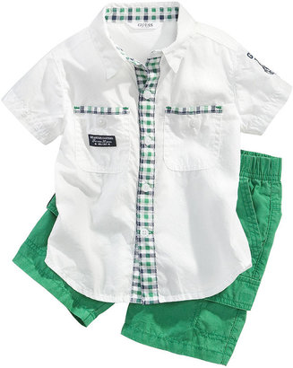 GUESS Set, Baby Boys Short-Sleeved Shirt and Pull-On Shorts