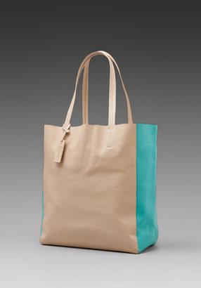 Yosi Samra Flat Leather Bag in Caramel/Turquoise