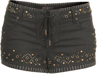 Kate Moss for topshop. 98% cotton, 2% elastane. hand wash. Denim hotpants with stud embellishment, lace up tie front and pocket detailing,