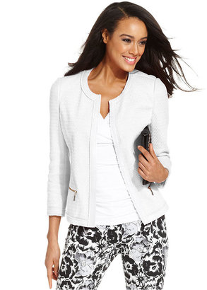 Alfani Petite Jacket, Three-Quarter-Sleeve Collarless Blazer