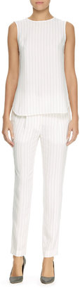 Thakoon Pinstriped Trousers, Ivory/Black