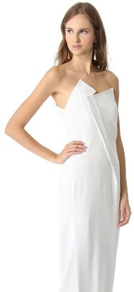 Donna Karan Geometric Fold Strapless Gown