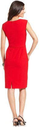 Tahari ASL Sleeveless Pleated-Neck Dress