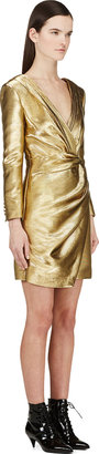Saint Laurent Gold Long Sleeve Deep V Wrap Dress