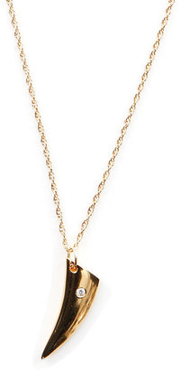 Jennifer Zeuner Jewelry Hunter Small Tusk Necklace with Diamond in Gold