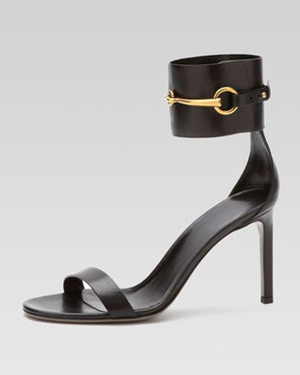 Gucci Horsebit Leather Ankle-Wrap Sandal, Black